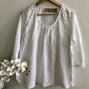 Life Style, Sz L, White Embroidered Smocked Top